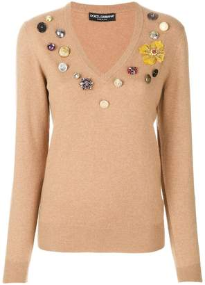Dolce & Gabbana flower patch jumper