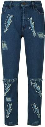 Sandro Pearl Applique Straight Leg Jeans