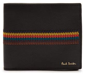 Paul Smith Embroidered Stripe Bi Fold Leather Wallet - Mens - Black