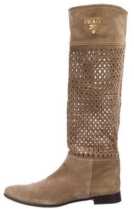 Prada Perforated Suede Boots