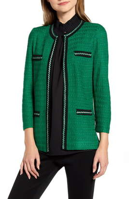 Ming Wang Braided Trim Jacquard Jacket