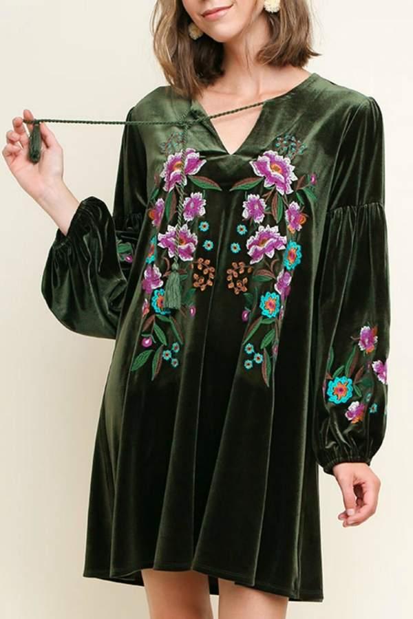 Floral Embroidered Velvet