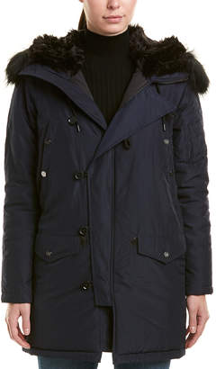 The Kooples Technical Satin Leather-Trim Parka