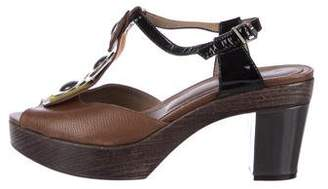 Marni Leather Mid-Heel Sandals