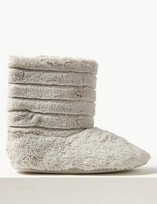 Marks and Spencer Fur Striped Slipper Boots