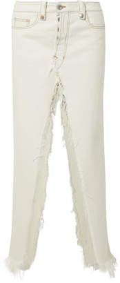 Unravel Project - Frayed Denim Maxi Skirt - White