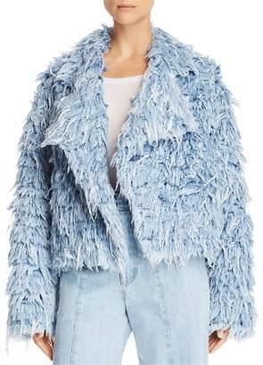 Ksenia Schnaider Faux-Fur Denim Jacket