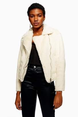 Topshop Womens Petite Faux Fur Biker Jacket - Cream