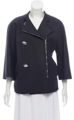 Isaac Mizrahi Collarless Zip-Up Jacket Black Collarless Zip-Up Jacket