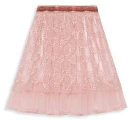 Gucci Little Girl's& Girl's Iconic GG Embellished A-Line Tulle Skirt