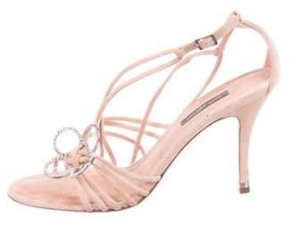 Louis Vuitton Suede Ankle Strap Sandals