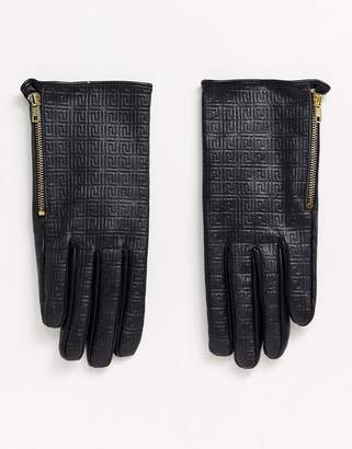 Asos Design DESIGN leather monogram gloves with touch screen