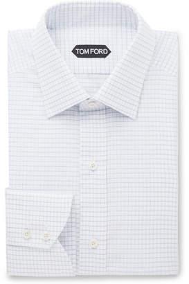Tom Ford Blue Slim-Fit Checked Cotton Shirt - Men - Blue