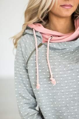 Ampersand Avenue DoubleHood Sweatshirt - Polka Dot Pink