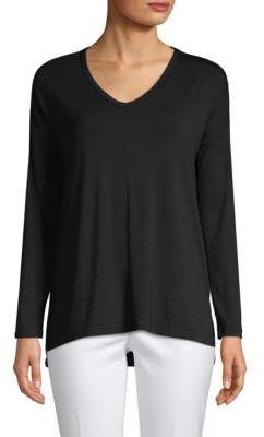 Saks Fifth Avenue BLACK V-Neck High-Low Tunic