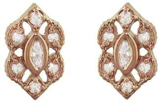 Megan Thorne Ribbon Frame Marquise Stud Earrings - Rose Gold
