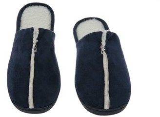 Deluxe Comfort Sunday Morning Slip-On Memory Foam House Slippers, Size 7-8 Warm Cozy Faux Lamb Wool Fleece Lining Wear Resistant Microsuede Durable Non-Marking Rubber Sole Men's Slippers, Navy Blue