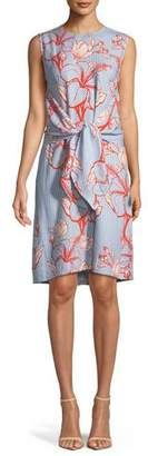 Lela Rose Sleeveless Tie-Waist Striped Floral-Print Tunic Dress