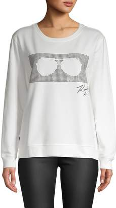 Karl Lagerfeld Paris Embellished Sunglasses Graphic Pullover