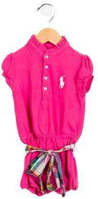 Ralph Lauren Girls' Belted Embroidered All-In-One