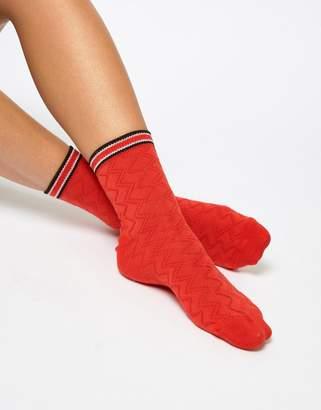 Asos DESIGN red textured stripe welt ankle sock