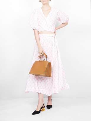 Lisa Marie Fernandez Polka-dot printed linen midi skirt