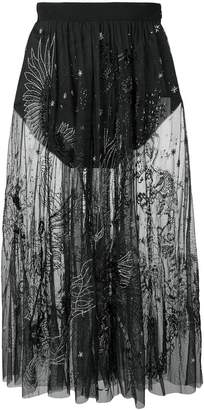 Amen embroidered sheer skirt
