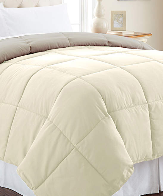 Ivory & Atmosphere Reversible Down-Alternative Comforter