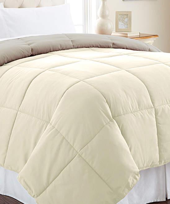 Ivory & Atmosphere Reversible Down-Alternative Comforter