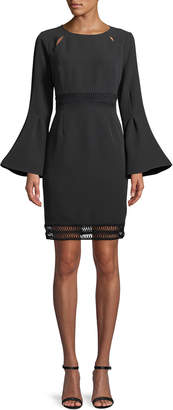 Catherine Malandrino Flare-Sleeve Open-Stitch Sheath Dress