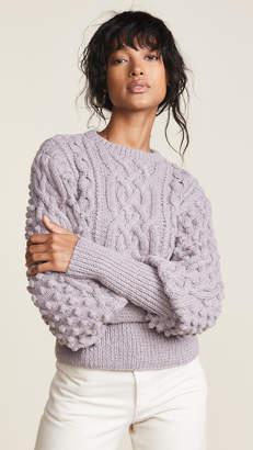 Apiece Apart Lieve Handknit Cable Crew Sweater