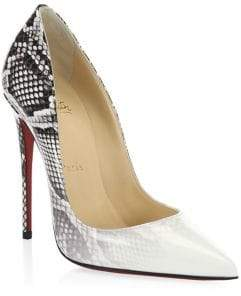 Christian Louboutin Kate Snakeskin Print Leather Pumps