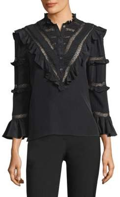Rebecca Taylor Long-Sleeve Silk& Lace Ruffle Top
