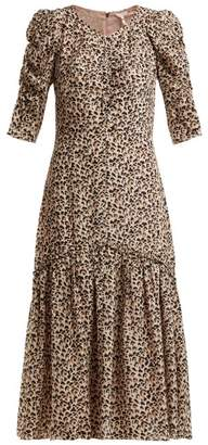 Rebecca Taylor Leopard Print Ruched Silk Dress - Womens - Animal