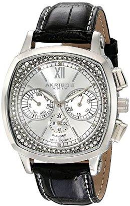Akribos XXIV Homme AKR462SS Gretoise Multi Fonction Diamant Swiss Quartz Square Montre