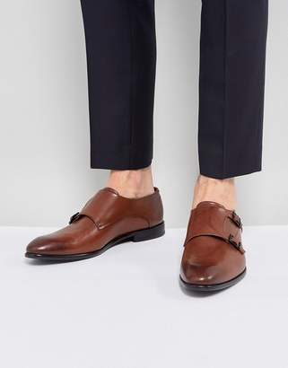 HUGO Dressapp Burnished Calf Leather Double Strap Monk Shoes in Brown
