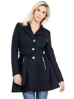 Factory Guess Women's Larae Fit-and-Flare Coat