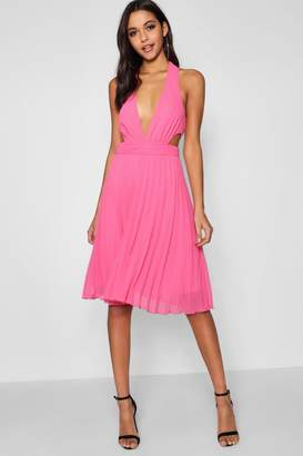 boohoo Boutique Plunge Neck Cut Out Skater Dress