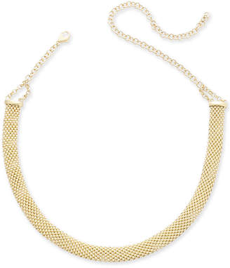 """Italian Gold Popcorn Mesh Link Choker Necklace in 14k Gold-Plated Sterling Silver, 13"""" + 5"""" extender"""