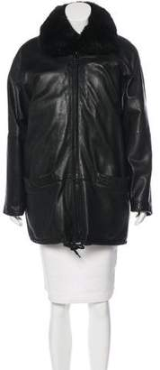 Andrew Marc Fur-Accented Leather Coat