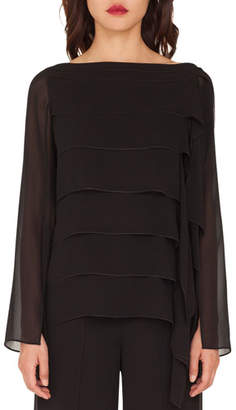 Akris Long-Sleeve Horizontal Pleated Blouse