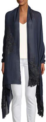 Bindya Accessories Wool-Silk Lace-Trim Stole