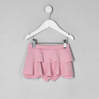 River Island Mini girls pink rara frill skort