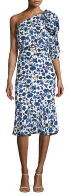 Saloni Juliet Silk Flounce Dress