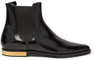 Dolce & Gabbana Engine Turned Plaque Leather Chelsea Boots - Mens - Black