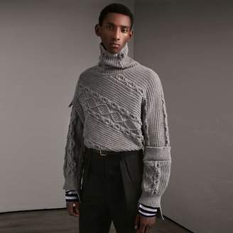 Burberry Cable and Rib Knit Collage Cotton Blend Sweater $695 thestylecure.com