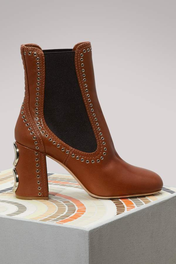 Miu Miu Studs leather ankle boots