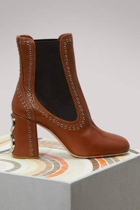 Miu Miu Studded Leather Ankle Boots