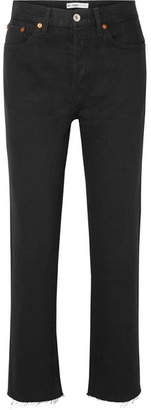 RE/DONE Stove Pipe Rigid High-rise Straight-leg Jeans - Black