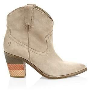 Frye Women's Faye Suede Stacked Heel Cowboy Boots